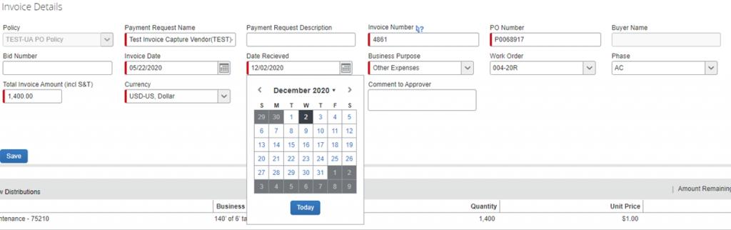 Concur Invoice Details Screen